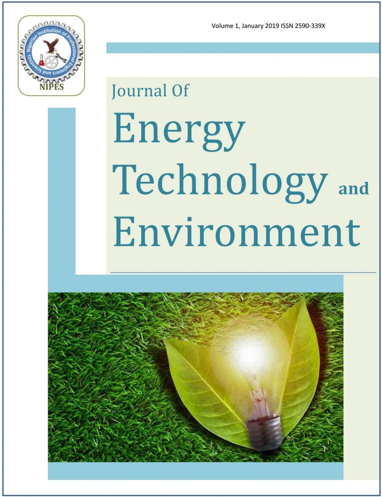 NIPES Nigerian Instition of professional engineers and scientist journal of energy technology and environment JETE